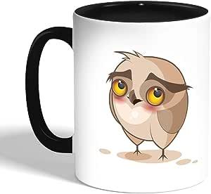 كوب سيراميك للقهوة، اسود، بتصميم الشعور بالخجل - بومة