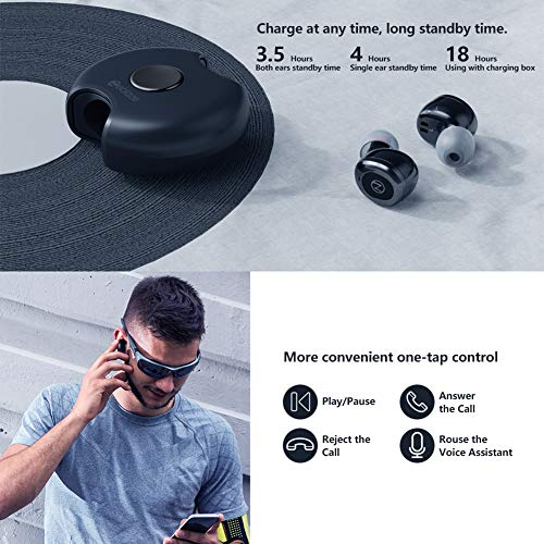 Zeblaze Zepods TWS Bluetooth 5.0 Wireless Earbuds Stereo Headphones in-Ear Built-in Mic Headset Premium Sound with Deep Bass for Sport