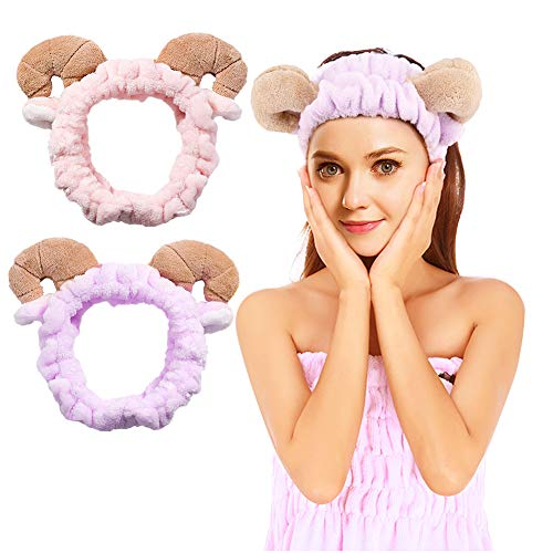 2 Pcs Plush Sheep Ears Headband Makeup Shower Wash Face Sport Hair Band (Pink+Brown) (Sheep)