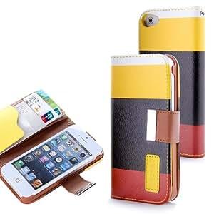 Funda Tres Colores Apple Iphone 5 - 5S - Amarillo Negro Burdeos