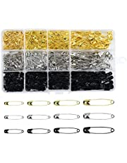 AvoDovA 540 Pcs Safety Pins 4 Sizes, Small Large Safety Pins Set Nickel Plated Steel Set with Storage Box, Silver Gold Black Metal Pins Safety Pins Assorted for DIY Craft Sewing Making Clothing