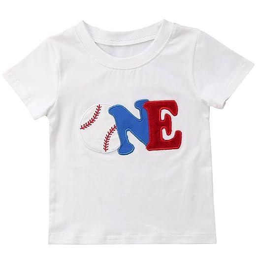 Biayxms Toddler Little Kids Baby Boy Short Sleeve First 2nd Birthday Baseball Shirts 70