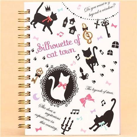 Libreta anillas blanca gato negro con lazo y notas musicales: Amazon.es: Juguetes y juegos