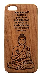 Buddha Wood Iphone Case You Yourself Deserve Your Love & Affection as Much As Any One Else In The Entire Universe Quote Iphone 5, 5s real wood case.(Dark Cherry Wood)