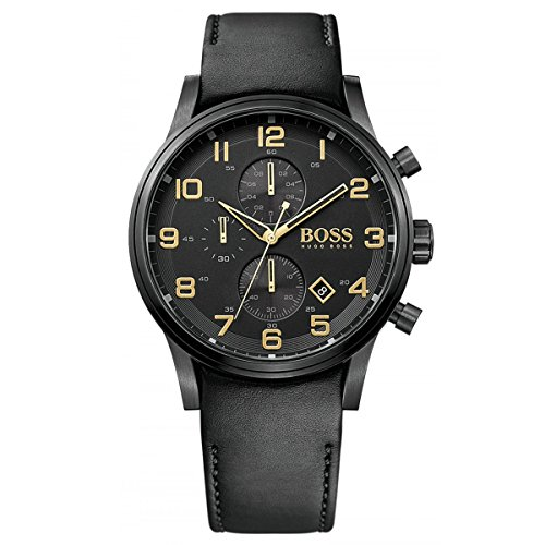 Hugo Boss 1513274 Black & Gold Dial Black Leather Men's Watch