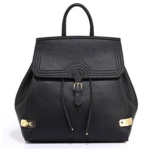TrendStar - Bolso estilo cartera de piel sintética para mujer A - Black
