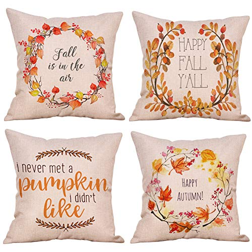 KACOPOL Happy Fall Quotes with Flower Wreath Throw Pillow Covers Cotton Linen Autumn Harvest Fall Halloween Festival Gift Home Décor Pillow Case Cushion Cover for Sofa Square 18