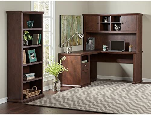 Bush Furniture Yorktown L Shaped Desk with Hutch and Bookcase in Antique Cherry