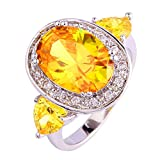 Psiroy 925 Sterling Silver Elegant Oval 5 Carat Citrine Gemstone Filled Ring for Women