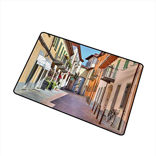 Becky W Carr City Welcome Door mat Town of Alba Piedmont Northern Italy Narrow Stone Paved Street Among Colorful Houses Door mat is odorless and Durable W31.5 x L47.2 Inch,Multicolor