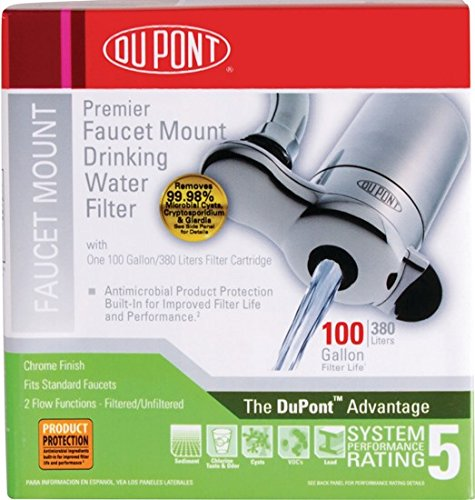 DuPont WFFM100XCH Premier Faucet Mount Drinking Water Filter, Chrome - Chrome Drinking Water
