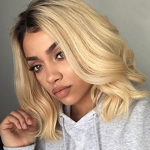 Platinum Blonde Peggy Sue Wig (Wicca Brazilian Remy Hair Blonde Lace Front Wig Middle Part Black and Blonde Ombre Wig Loose Wave Full Lace Wig for Women Bleached Knots 150% (150% 14inch, Lace Front Wig))