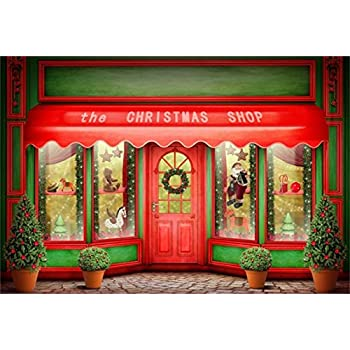 aofoto 8x6ft front door of christmas shop photography background xmas store display window with toys backdrop - The Christmas Shop