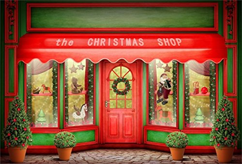 AOFOTO 8x6ft Front Door of Christmas Shop Photography Background Xmas Store Display Window with Toys Backdrop Holiday New Year Tree Kid Baby Child Girl Boy Portrait Photo Studio Props Wallpaper (Display Shop Christmas Window Decorations)