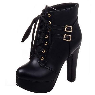 YE Damen High Heels mit Plateau Stiefeletten mit Heels Schnürung Blockabsatz ... ad6d46