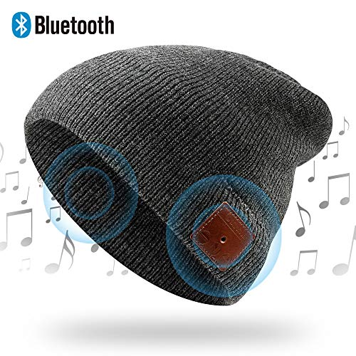 NICEWELL Wireless Bluetooth Beanie Music Hat Bulit in Headphones and Speakers, Unisex Unique for Teenagers and Adult (Grey)