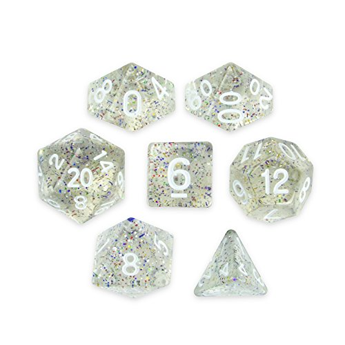 Wiz Dice Sparkle Vomit Set of 7 Polyhedral Dice, Transparent & Rainbow Glitter Tabletop RPG Dice with Clear Display Box