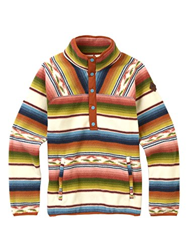 Burton Women's Hearth Fleece Pullover Hoodie, Canvas Iris Stripe, - Fleece Jacket Burton Hooded