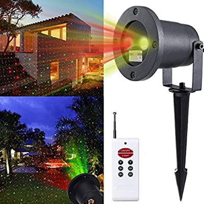 Outdoor Dynamic Red and Green Laser Lights, Waterproof and Weatherproof Landscape spotlights,wireless Remote Include