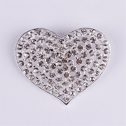USIX Pack of 3 Floriated Heart Shaped Rhinestone Crystal Brooch Pin for Dress, Suit, Sweater Embellishments, DIY Wedding Bouquet Cake Dress Corsage Boutonniere Decoration(Crystal Silverx3)