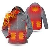rocboc Heated Hoodie, 5 Heating Zone Intelligent Dual Control Switch, Washable USB Charging Heated Jacket Full-Zip Heated Sweatshirt Heated Clothing (Unisex, No Battery) Grey