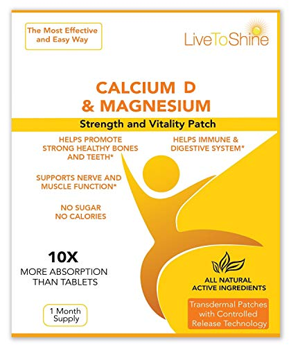 Calcium Magnesium Patch with D3 - Natural High Absorption Womens Hot Flash Relief and Menopause Support - USA made by Live To Shine (Side Effects Of Calcium Carbonate With Vitamin D)
