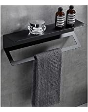 Floating Shelves for Wall No Drilling, Bathroom Storage Shelf Shower Caddy Rack, Spices Holder with Towel Bar for Toilet Shampoo Dorm Kitchen