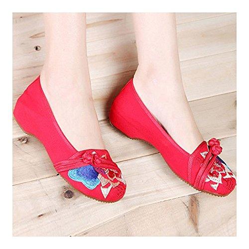 Bonitos Rojo y Bordados de Zapatos Flores Elegantes Grandes HFr8wqH