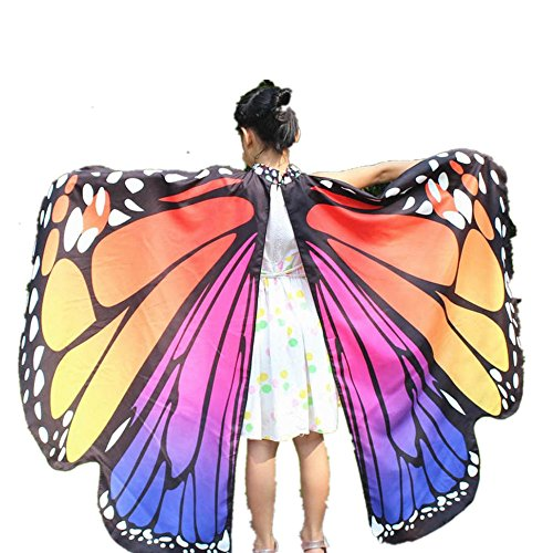 2017 New Kid Girl Halloween Butterfly Wings Shawl Cape Scarf Fairy Poncho Shawl Wrap Costume Accessory (Hot Pink, Free Size)]()