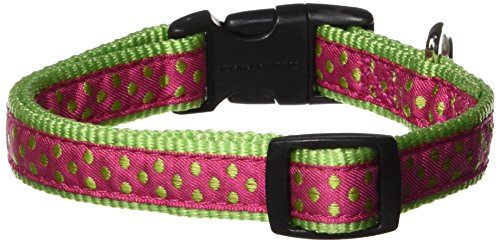 Nylon Polka Dot Dog Collar, 10–16-Inch, Raspberry (Nylon Dog Collar Raspberry)