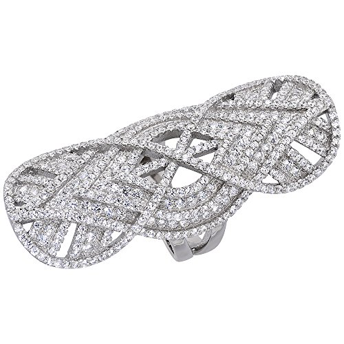 Sterling Silver Cubic Zirconia Long Ring Micro pave Infinity 2 inch Long, size 7 -