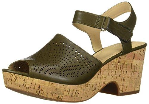 CLARKS Women's Maritsa Nila Wedge Sandal Khaki Leather