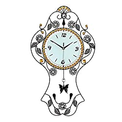 lishirao Wall Clocks, Oval Rocking Decoration Clock Mute Quartz Wall Clock Mute Non-tick Easy to Read Home/Office/School Clock