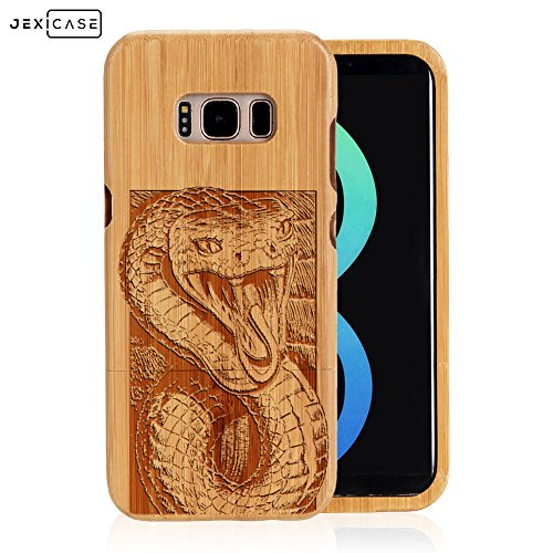 Samsung Galaxy S8 Plus Case Engraved Case,JEXICASE Real Natural Bamboo Wood Animal Engraved Phone Case Cover,Shockproof Dropproof Bumper Protective Carved Cover(Python Snake)