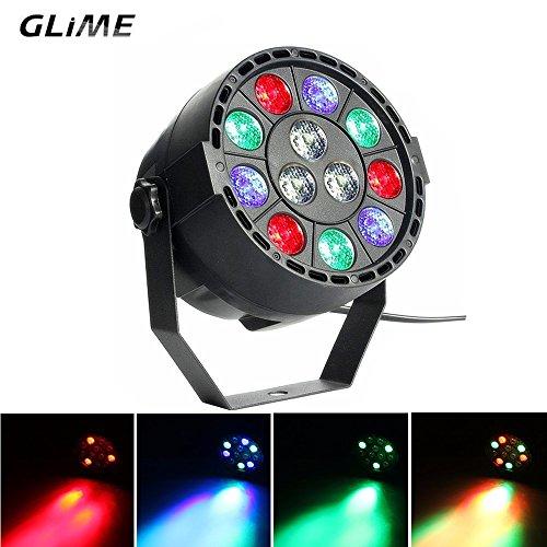 GLIME RGBW LED Dj Light Stage Lights Party Light 12 LEDs Par Lights DMX 512 Control Disco Lights for KTV Bar Show Wedding Strobe Light Clubs Light KTV Bar Show Wedding