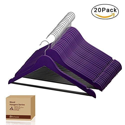 Perfecasa Grade A Solid Wood Hangers 20 Pack, Suit Hangers, Coat Hangers, Premium Quality Wooden Hangers (Ultra Violet)