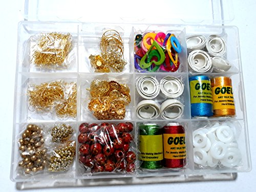 GOELX Silk Thread Earring/Jhumka Making Kit- All Jhumka Making Materials- Makes Earrings In Different Shapes With Storage Box