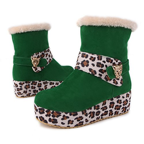 Boots Leopard Short Assorted Green B M Colors Closed Womens Round Pattern Kitten US with Heels AmoonyFashion Toe Plush 7 v7Ywaq