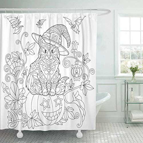 Emvency Fabric Shower Curtain Curtains with Hooks Coloring Page of Cat in Hat Sitting on Halloween Pumpkin Flying Bats Spider Lantern with Candle Freehand 66