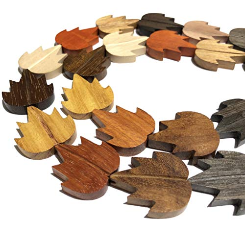 [ABCgems] Premier Wood Collections (Hand Carved from Exotic Hardwood) Precision-Cut 26X30X5mm Smooth Maple Leaf Beads for Beading & Jewelry Making