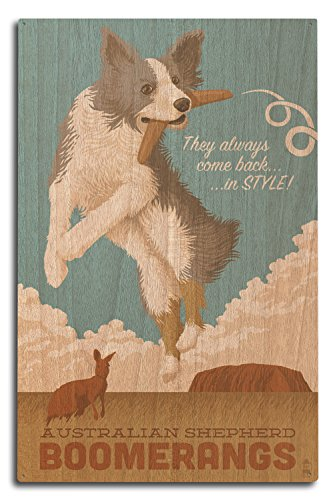 Australian Shepherd - Retro Boomerang Ad (10x15 Wood Wall Sign, Wall Decor Ready to Hang) -  Lantern Press, LANT-55085-10x15W