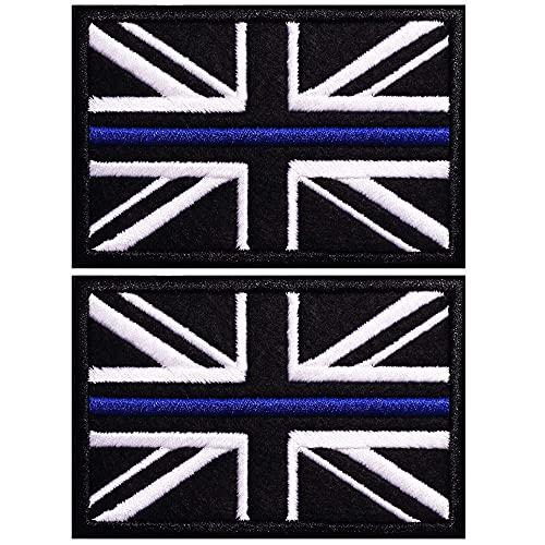 AXEN British Union Jack Velcro Patch Blue Line United Kingdom Flag Patch British Union Patches Tactical Patches Hook and Loop Applique for Military Uniform Tactical Bag Jacket Jeans Hat, 2pcs