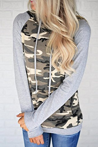 AIMEE7 Femmes Camouflage Impression Pocket Hoodie Sweat  Capuche Pull Tops Blouse