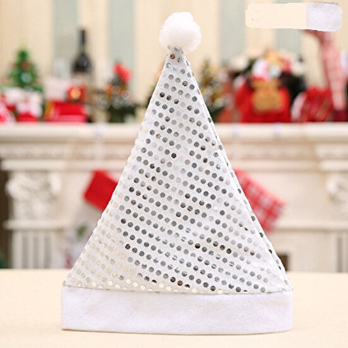 Gaosaili Christmas Theme Sequins Hats Christmas Costume Classic Hat Elf Hat Coil Hat Santa Hat Party Hats for Child Christmas Decor Silver (Christmas Classic Party Themes)