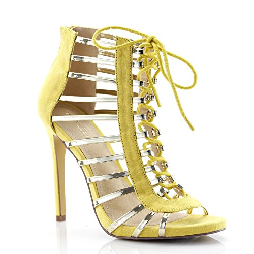 FOREVER VOGUE Women's Mixed Media Caged Peep Toe Stiletto Heel Sandals, Yellow 8.5