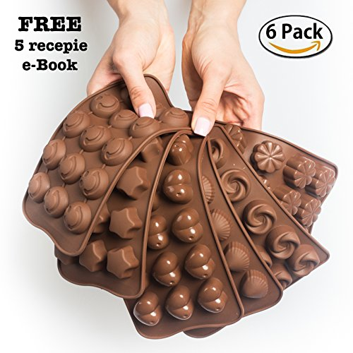 Truffle Chocolate Mold (Cake Decorating Chocolate Silicon Molds - Set Of 6 Chocolate Molds - Best For Cake Decorations - Chocolate Candy Molds - Silicone Mold - Hard Candy Molds - Jello Shot Molds)