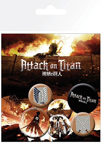 Attack On Titan - 6 Piece Button / Pin / Badge Set (Characters And Icons(