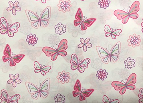 Authentic Kids Girls Butterflies and Flowers All Cotton FULL Sheet Set