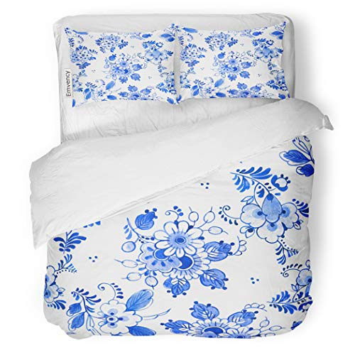 (SanChic Duvet Cover Set Delft Blue Watercolour Traditional Dutch Floral Bouquets Decorative Bedding Set with Pillow Case Twin Size)