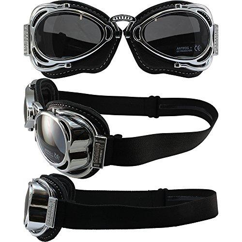 Grey Chrome Lens - Nannini Hot Rod Padded Motorcycle Goggles Hand-Sewn Black Leather/Chrome Frames Grey Anti-Fog Lenses
